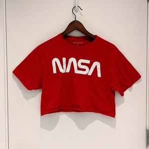 NASA Cropped Short Sleeve Shirt - Sz M